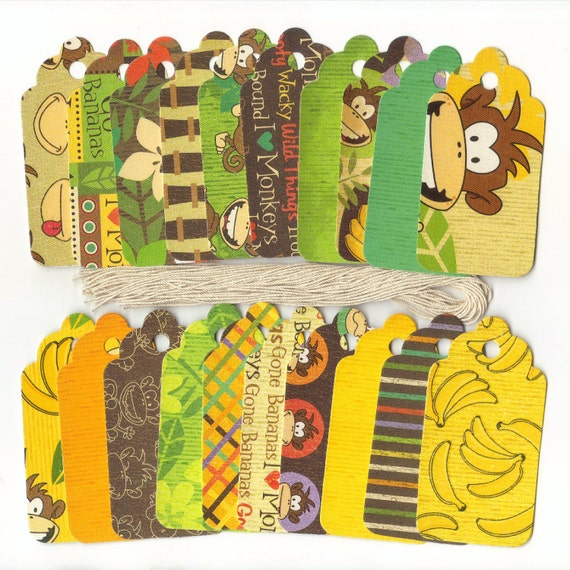 GIFT HANG TAGS - Cheekee Monkey Collection Large Scallop Die Cut Tags (20)