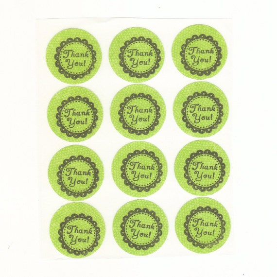 Green Thank You Envelope Seals Stickers (12) Package Decor 1 Inch