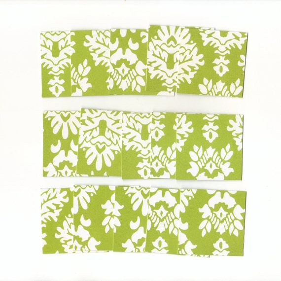 SALE - Green with White Flourishes Mini Note Cards, Gift Cards, Mini Notes (Set of 15)