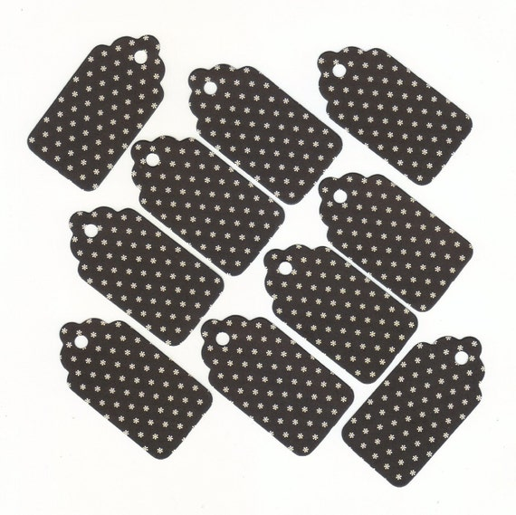 Under One Dollar Clearance - Tiny White Daisies on Black Medium Scallop Die Cut Gift Hang Tags (24) Set 5