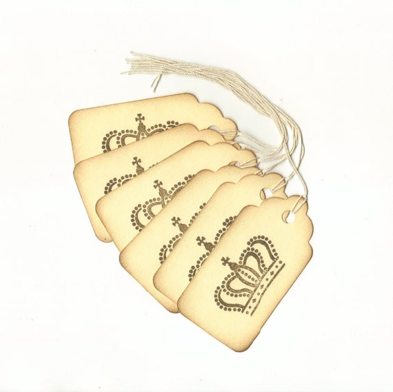 ONE DOLLAR SALE -  Crown I Hand Stamped Large Scallop Die Cut Hang Tags (Set of 6)