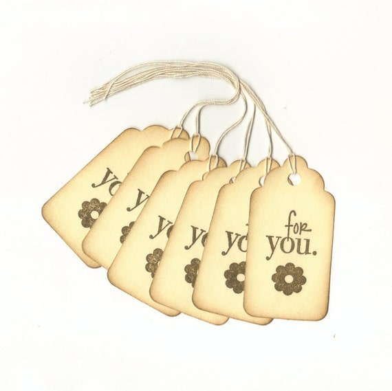 For You Hand Stamped Large Scallop Die Cut Hang Tags (Set of 6) Fafor Tags
