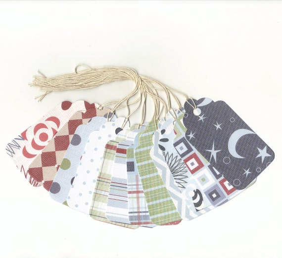 CLEARANCE SALE 50 Off - Assorted Large Scallop Die Cut Gift Hang Tags (12) Set 17 Priced As Marked