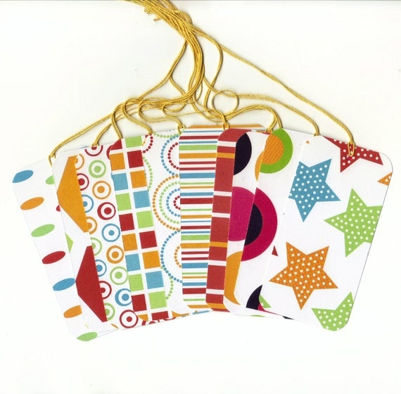 Assorted Large Rectangle Gift Hang Tags Set of 10 (rt2) SALE