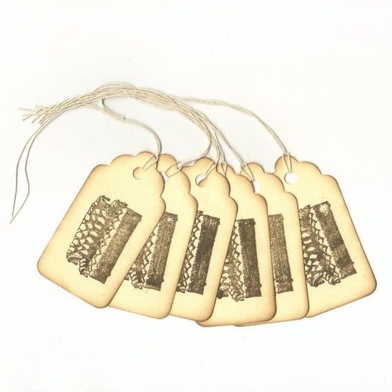 Leather Couch Hand Stamped Large Scallop Die Cut Hang Tags (Set of 6) Favor Tags