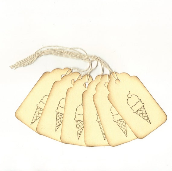 1 ONE DOLLAR SALE - Double Scoop Ice Cream Hand Stamped Large Scallop Die Cut Hang Tags (Set of 6)