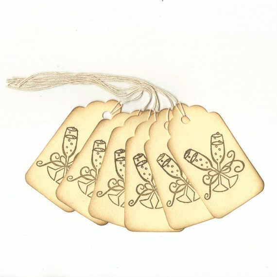 1 ONE DOLLAR SALE - Wedding Toast Hand Stamped Large Scallop Die Cut Hang Tags (Set of 6)