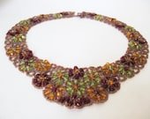Bib Necklace Flower Floral Collar Beaded Beadweaving Woven Handmade Elegant Dressy Statement Special Unique Faceted Green Yellow Red Athena