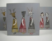 girls with masks- 3 panels- original mixed media painting,