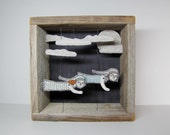 night flight II diorama- hand embroidery for the wall - MarysGranddaughter