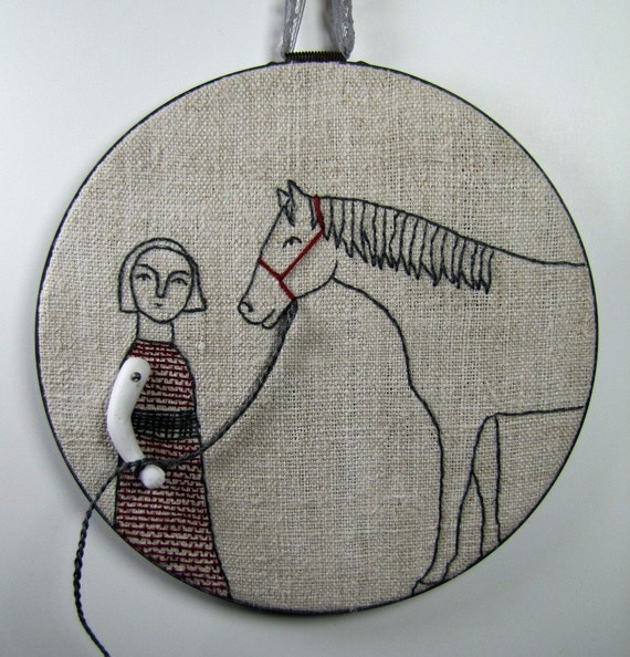hand embroidery-girl and her horse no. 3 in charcoal gray and deep red