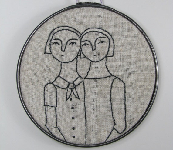 hand embroidery-sisters in gray