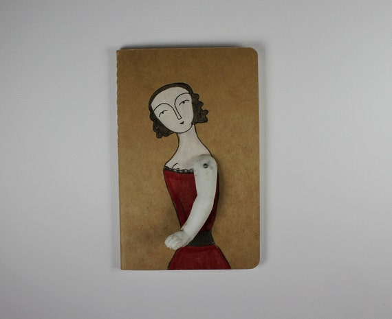 Moleskine Cahier journal - ruled - woman in a red dress