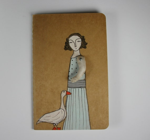 Moleskine Cahier journal- blank- girl and her goose