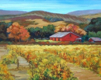 California Wine Country Print, Napa Valley Vineyard Art, Red Barn, Fall Grape Vines, Autumn Vineyard Painting, Impressionist Painting, 8 x10