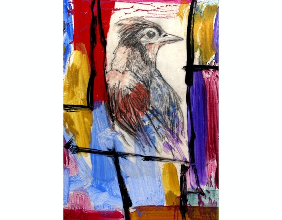 RESERVED FOR ANGELA -Bird, Abstract, Monotype, Original Acrylic Collage, 5x7, 8x10 mat
