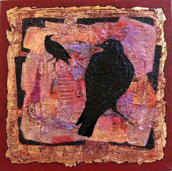 Black Birds,  Abstract Acrylic Collage Original Painting, Mixed Media, 12x12 Canvas
