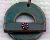 Rain  - Large Circle Focal Toggle Clasp with Brass