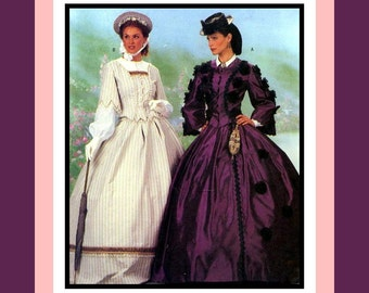 Ladies Victorian Gorgeous Promenade Strolling Gowns in Two Styles -Sewing Pattern-Princess Seams-Trimmings- Size-6-10-Uncut - Scarce Pattern
