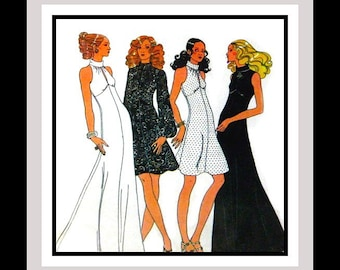 Vintage 1972 -Sexy Empire Waist Halter Evening Gown-Day Dress-Sewing Pattern -Keyhole Front- Cuff Collar -Flared Skirt- Size 14-Rare