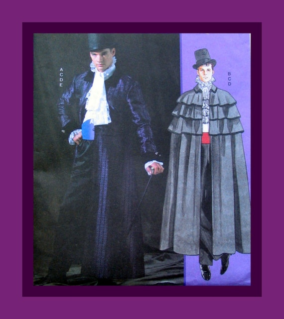 Mens Costume Sewing Pattern-Victorian Three Tiers Flounce Cape-Long Coat-Size Sm-Med-Lg-RARE