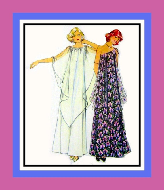 Vintage 1977-Butterfly Wings- Draped Evening Gown in Two Styles- Sewing Pattern -Size 10 -Uncut -Very Rare