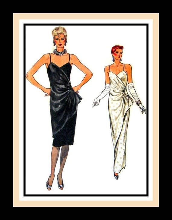 Vintage 1984 -Vogue Stunning  & Sexy Draped Evening Gown -Cocktail Dress- Sewing Pattern -Size 8 -Uncut -Rare -Collectible
