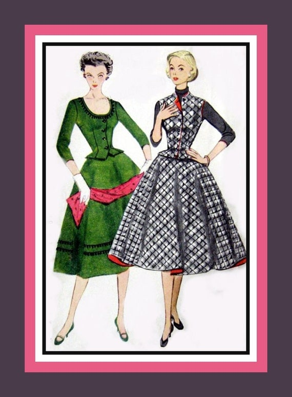 Vintage 1952 -Three Piece Dress Outfit -Sewing Pattern -Designed for Heavy & Quilted Fabrics -Perfect for Trims- Size 14- Very Rare