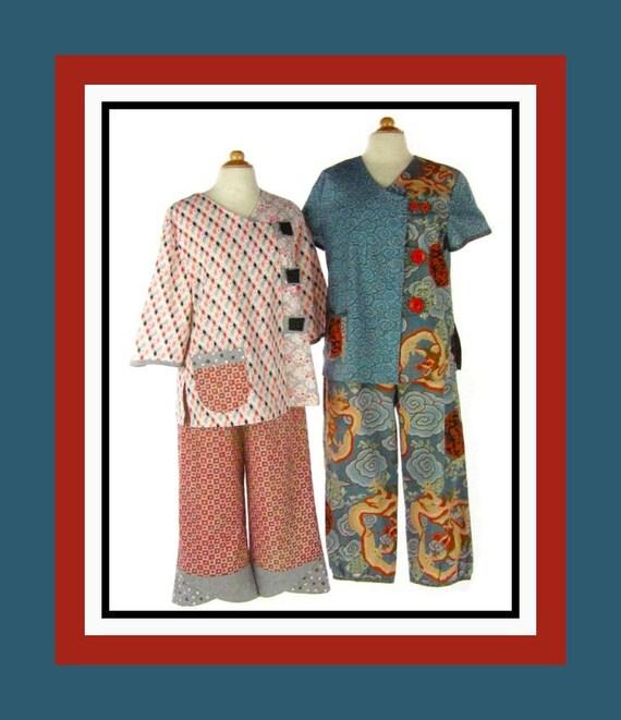 Asian Night Pajamas -Indygo Junction Sewing Pattern -Three Styles -Top -Pants- Contrast Fabrics -Yo Yos-New -Uncut- Size S-XXL