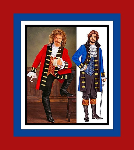 Mens Swashbuckler Pirate Costume- Sewing Pattern -Coat -Vest -Lace Jabot -Cuffs-Pants- Size XS -Small -Medium -Uncut -Out of Print