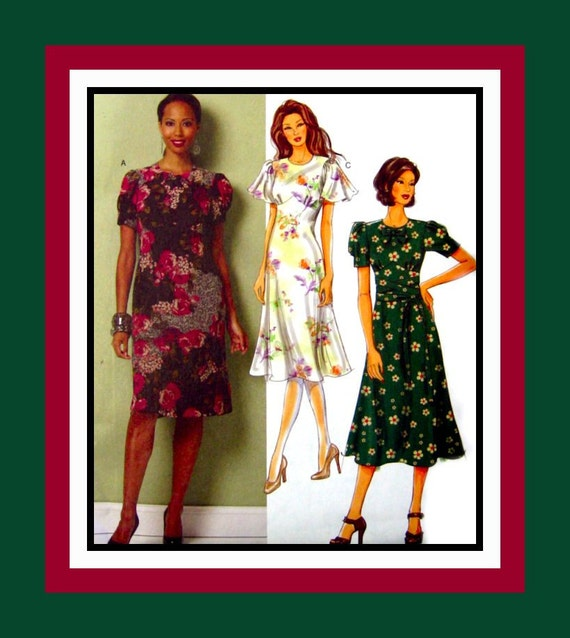 Retro Style Collection of Ladies Frocks -Sewing Pattern - Flared Sleeves- Gathered Cap -Bias Flared Skirt- Uncut -NEW-Size 16-22- Plus Size