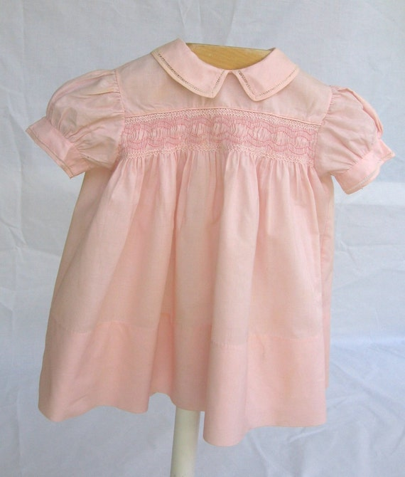 Vintage 1950s-60s- Darling Toddler Pink Cotton Dress- Handcrafted -Heirloom Sewing -Smocked Bodice- Faggoting Details- Size 18 Months