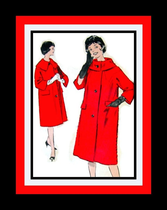 Vintage 1960s -Chic City Girl Coat -Sewing Pattern- Dramatic Oversized Collar- Dropped Shaped Sleeves- Uncut - Size 12 - Rare
