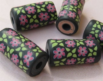 Polymer clay beads - pink floral