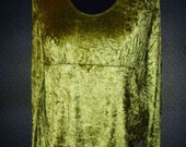 Pagan Wiccan Spell Top - Witchy wear Plus Size Panne Velour Summer Sage Green Bell Sleeves