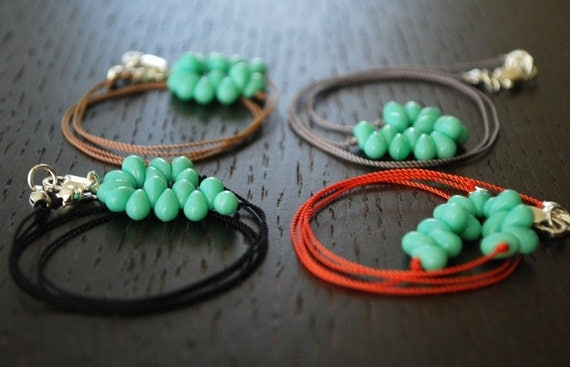 R A I N D R O P (mini)-  Czech glass beaded hand knotted necklace in limited edition colors