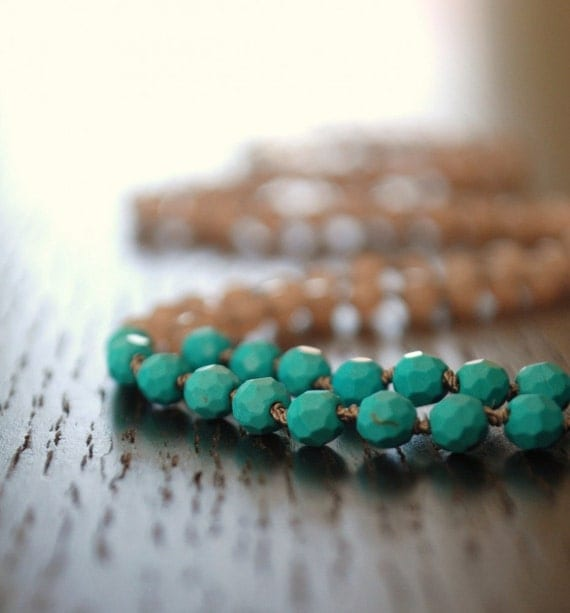 Cyber Monday Sale //// Colorblock long necklace - Turquoise & Jade stone hand knotted necklace  //// C B . 0 1