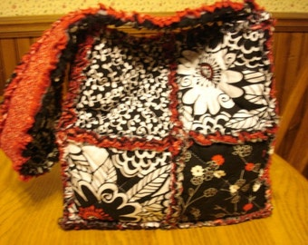 Red And Black Floral Rag Handbag/Purse Tote