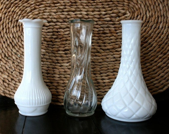 RESERVED Vintage Milk Glass and Clear Glass Vases Randall CFG CLG Brands