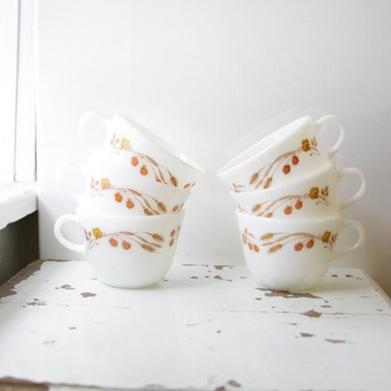 Vintage Pyrex Wheat and Flowers Milk Glass Tea or Coffee Cups set of 6