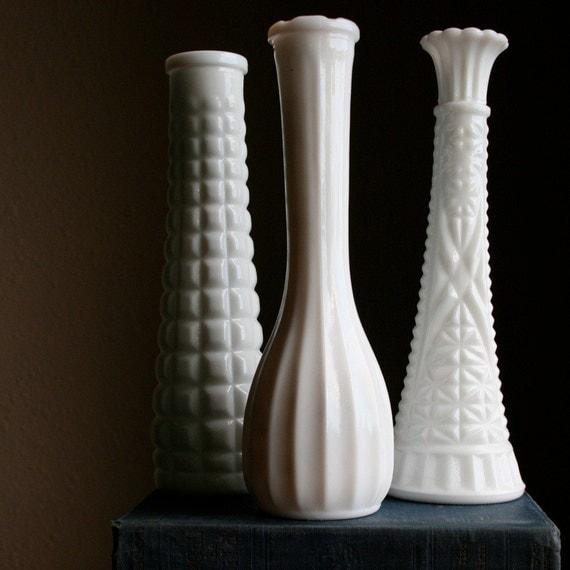 Reserved Vintage Milk Glass E O Brody Clg Co Vase Set Of