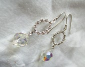 SALE Giselle- Swarovski oval crystals and dangling crystal ball - SALE