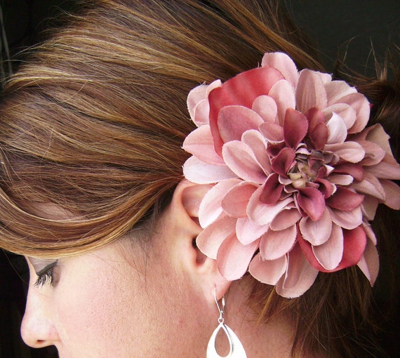Blushing Love- a dahlia fascinator in soft  pinks and blush