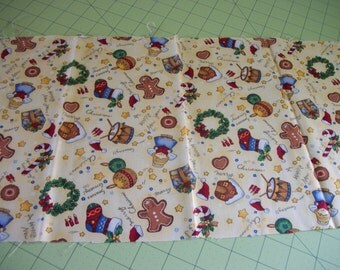Fabric Seasons Greetings Cotton Fabric Christmas New Year Gingerbread Man Wreath Angel