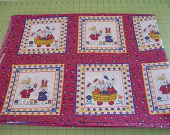 Fabric Country Fabric Bunnies Floral Sewing Quilting Fabric Wall Hanging Quilt