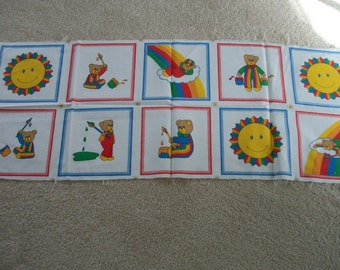 Fabric Blocks Sun Teddy Bears Rainbows