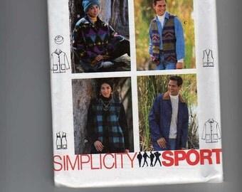 Simplicity Sport Sewing Pattern 9139 Size L XL Misses Mens Teen Boys Teen Girls Jacket Vest Hat 1994