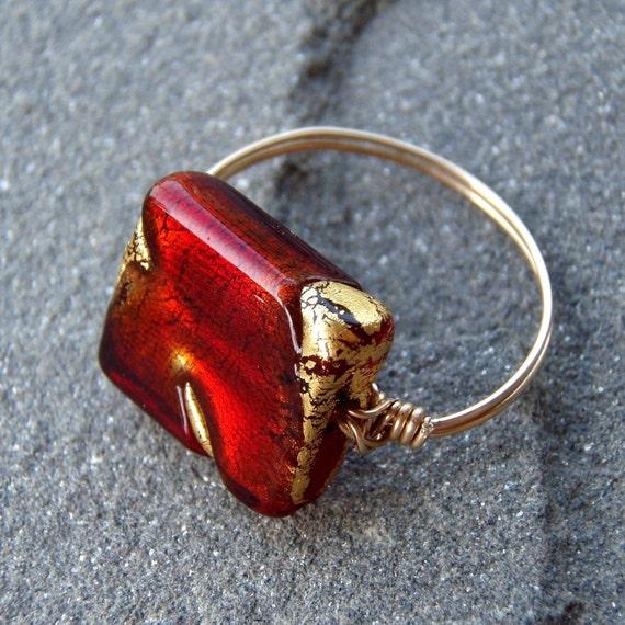 crimson gold venetian ring