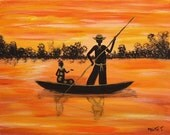 The Love Canoe (14 x 11) - Original Abrstract Acrylic Painting -  From artbymaite african art painting