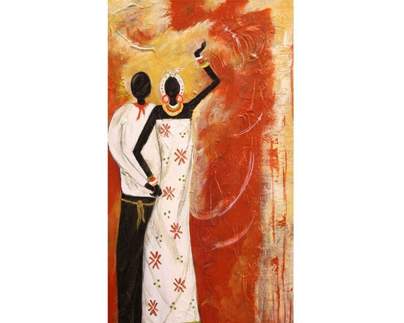 Couple Dancing (10 x 20 x 1.5) Original Abrstract Acrylic Painting, African Art - By Maite